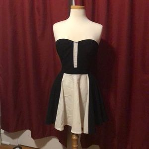 Black and white strapless cocktail dress